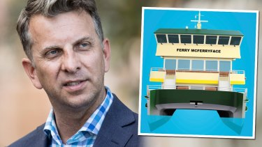 "Transport Minister Andrew Constance says ""Ferry McFerryface"" will be renamed."