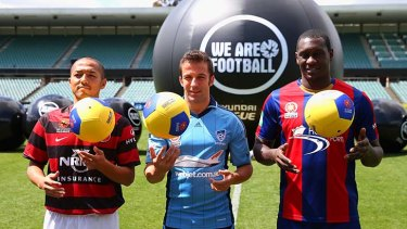 Star attractions: Shinji Ono of Western Sydney Wanderers, Alessandro Del Piero of Sydney FC and Emile Heskey of Newcastle Jets pose during the A-League Season launch last month.