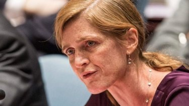 United States UN Representative Samantha Power speaks at a United Nations Security Council  meeting about the ongoing Ukrainian-Russian conflict.