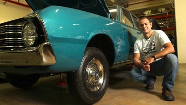 Look, don't touch: Andrew Attard with the 1970 Chrysler Valiant Regal he donated to the Powerhouse Museum. It is on display at the Discovery Centre at Castle Hill. Photo: