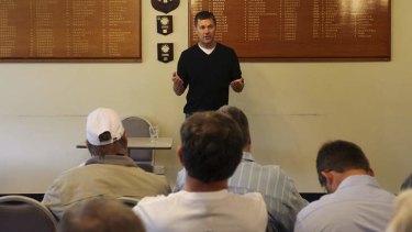 United: Glenn Druery addresses an alliance meeting at the Turrumurra Bowling Club in Sydney.