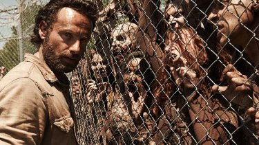 Andrew Lincoln in the zombie TV show <em>The Walking Dead</em>.