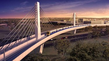 Artist impressions of the Skytrain and Windsor Road bridge.