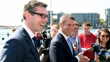 Finance and Property Minister Dominic Perrottet and  Premier Mike Baird.