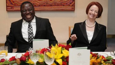 Breaking the ice: Prime Minister Morgan Tsvangirai has lunch with Julia Gillard at Parliament House yesterday.