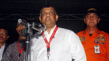 AirAsia CEO Tony Fernandes during a press conference at the crisis center at Juanda International Airport in Surabaya, East Java, Indonesia, on Tuesday.