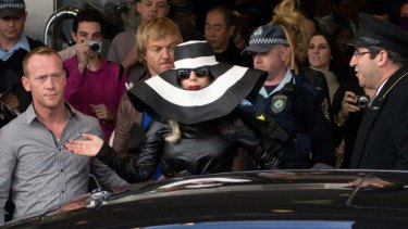 On her way ... Lady Gaga is seen departing the Four Seasons Hotel yesterday.
