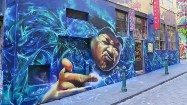 Street art by Heesco and Dule Style in Hosier Lane, from Dean Sunshine's book <i>Street Art Now</i>.