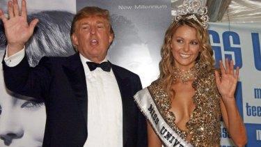 Happier times: Donald Trump with Australian Miss Universe winner Jennifer Hawkins in 2004