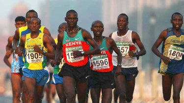 Eventual race winner John Kelai of Kenya heads the pack during the marathon.