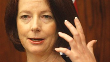 Prime Minister Julia Gillard, sans ring, at a press conference last Friday.