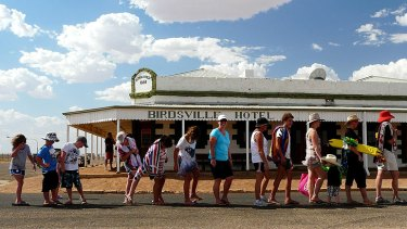 Birdsville locals on the way to the local pool to escape the heat.