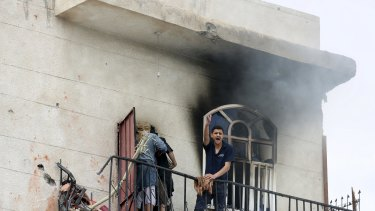 A man reacts at the site of an air strike in Sanaa this week.