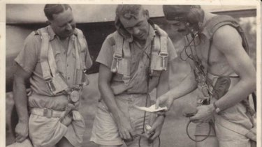 Born leader: Charles Read, right, at Coomalie Creek Airfield, Northern Territory, in 1942.