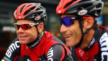 George Hincapie, right, is Cadel Evans' lieutenant on the Tour de France.