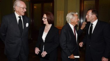 Over in a minute: Malcolm Fraser, Julia Gillard, Bob Hawke, Tony Abbott.