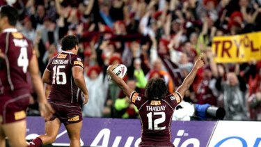 That seals it . . . Queensland second-rower Sam Thaiday celebrates after his try late in the second half, which ensured the Maroons won the State of Origin series opener at ANZ Stadium last night.