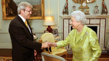 The Queen greets the then prime minister Kevin Rudd during a private audience at Buckingham Palace in 2009.