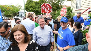 Queensland Opposition Leader Tim Nicholls was also confronted by anti-Adani protesters during his campaign.