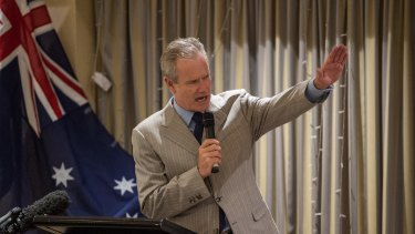 Ross Cameron speaks at a fundraiser for Kirralie Smith at the North Ryde RSL on Thursday.