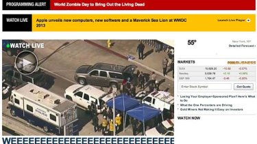 Gaffe: This Fox News homepage displayed for about half an hour.