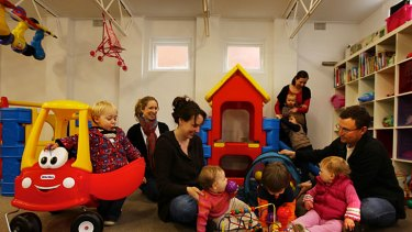 Building blocks ... parents and children learn and play at Oatley West 1 Playgroup at St Stephens church.