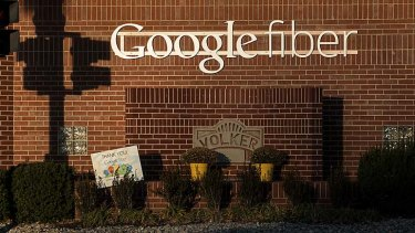 Grateful: Google Fibre signage in Kansas City, Missouri.