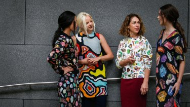 Gorman founder and head designer Lisa Gorman (second from right) with models.