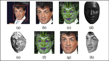 From an original image of a face (a), DeepFace makes a 3-D model (d), which it can then rotate to generate images of the same face at different angles (g, h), which it can then match to different photos of the same person.
