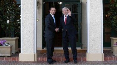 Tony Abbott and Kevin Rudd keep it civil at the Lodge.