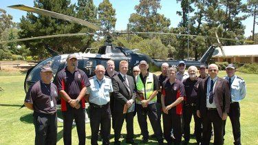 Darlington Bush Fire Brigade with FESA Manager Air Operations Peter Saint, CEO Wayne Gregson APM, Director Aviation Services Douglas Whitfield and Acting Chief Operations Officer Lloyd Bailey.