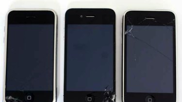The iPhone 4, centre, has similar breakage patterns to previous models.