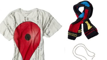 Google's fashionista t-shirt, scarf and necklace.