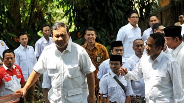 Prabowo Subianto meets with the West Java chapter of his party, Gerindra, at his home in Hambalang.