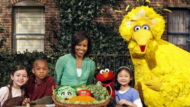 'Liberal agenda' ... First Lady Michelle Obama appears on an episode of Sesame Street.