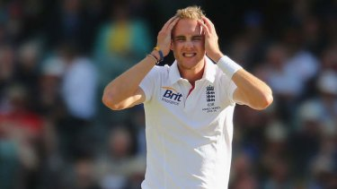Stuart Broad reacts to  a missed chance.
