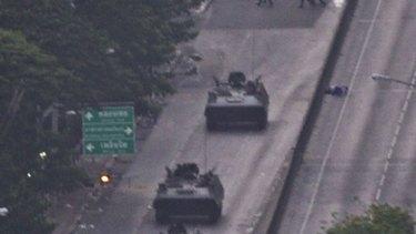 City battleground...a convoy near Lumpini Park.