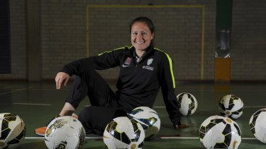 Canberra United player Kendall Fletcher attended Kaleen High School for a skills training session with students on Wednesday.