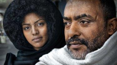 Michael Atakelt's grieving girlfriend Elsa Giday and father Betachen Atakelt Seyoum.