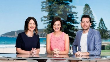 Under the axe ... What is left of the original line-up of <i>Wake Up</i>, (from left) Natasha Exelby,  Natarsha Belling and James Mathison. Exelby left after just 16 days.