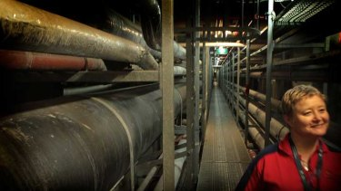 Organiser Petrina Dakin in the underground tunnels of the Royal Melbourne Hospital; the queue for the tunnels.