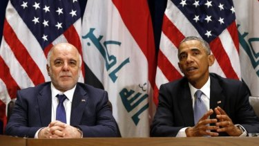Barack Obama meets with Iraqi Prime Minister Haider al-Abadi during the UN General Assembly in New York on Wednesday. On Thursday, Abadi spoke of a 'credible' terrorist plot to target subways in the US and Paris.