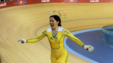 Australia's Anna Meares celebrates after her track cycling women's sprint finals at the Velodrome during the London 2012 Olympic Games.