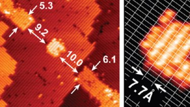 The tiny seven-atom quantum dot created by scientists (left), with a close-up of that dot forming an atomic-scale transistor (right).