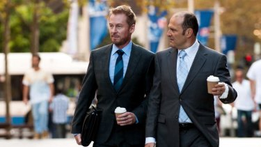 Folk law: Richard Roxburgh and Russell Dykstra during filming.