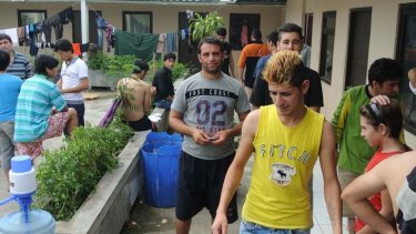 A group of Iranian refugees in immigration detention at a West Java hotel.