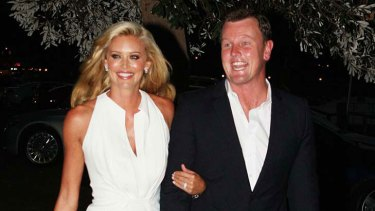 And the bride wore white ... Kelly and Anthony were all smiles when they arrived at Catalina to share their news.