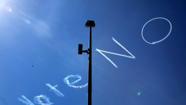 Skywriting above Sydney's CBD during the same-sex marriage campaign.