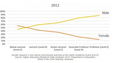 Gender disparity in the natural and physical sciences at the higher academic levels (B to E).