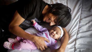 Ben Duncan, 16, with 10-week-old daughter Shanice.<i>Picture: Meredith O'Shea</i>